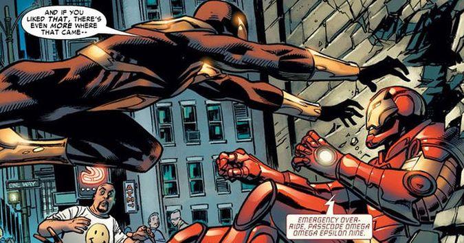 civil war comic spider-man iron man pelea