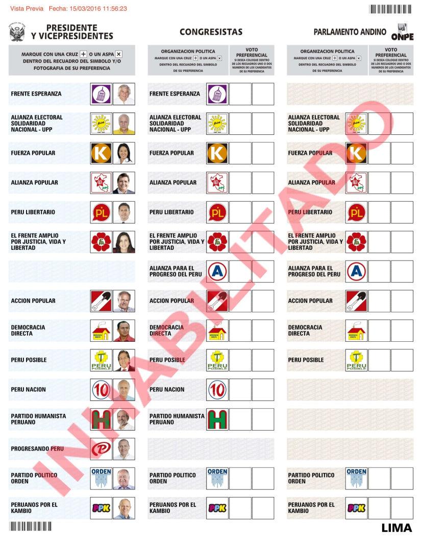 elecciones 2016 cedula de votacion