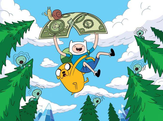 adventure time finn jake dinero