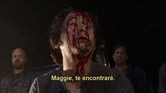 the walking dead temporada 7 glenn muerte maggie