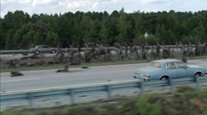 the walking dead 7x09 autos rick michonne zombis