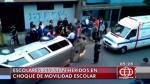 Movilidad escolar es embestida por auto particular en SJL | VIDEO - Noticias de accidente de tránsito
